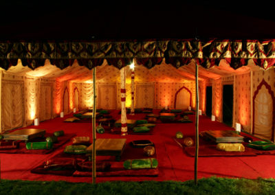 A Maharani marquee with low tables