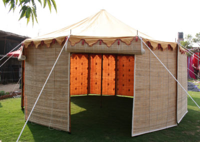 The Jaigarth tent with lined bamboo blinds