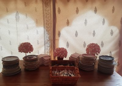 A beautiful backdrop to the serving table.